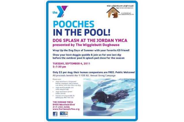 Flyer for Pooches in the Pool - The Wigglebutt Doghouse Indianapolis